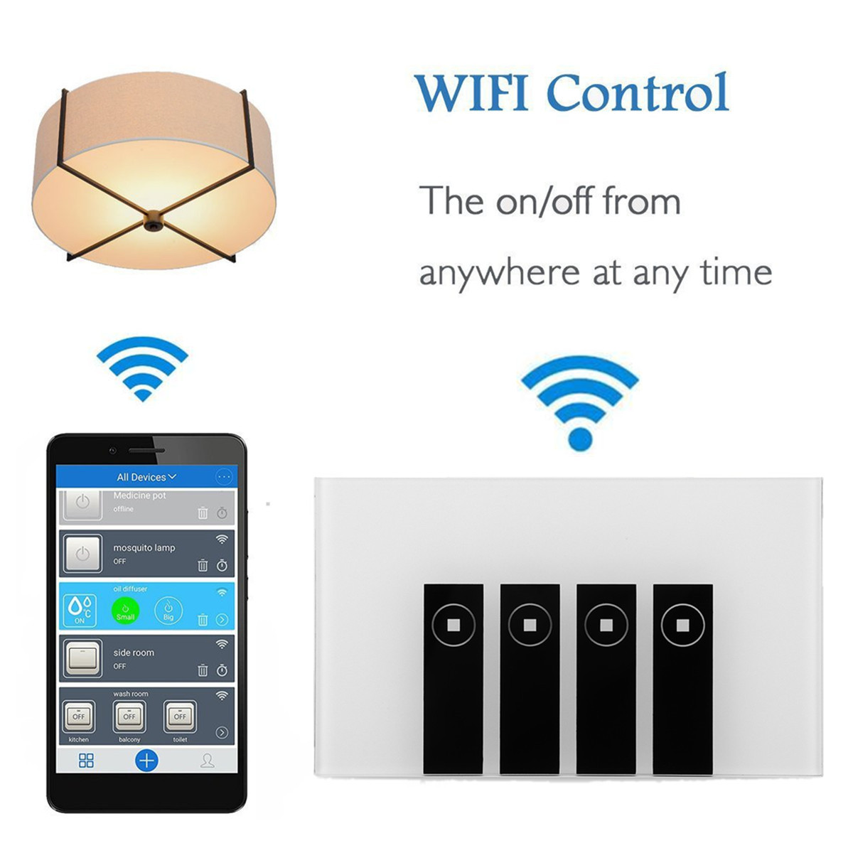 Tempered Glass Smart Home Touch Sensor Switch Panel For Echo Alexa Google Home
