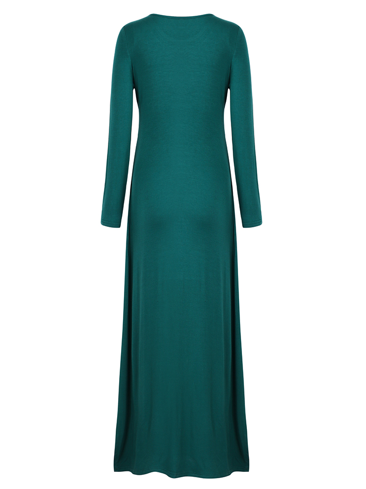 Women Long Sleeve Solid Waist Pleated Split Irregular Maxi Dress