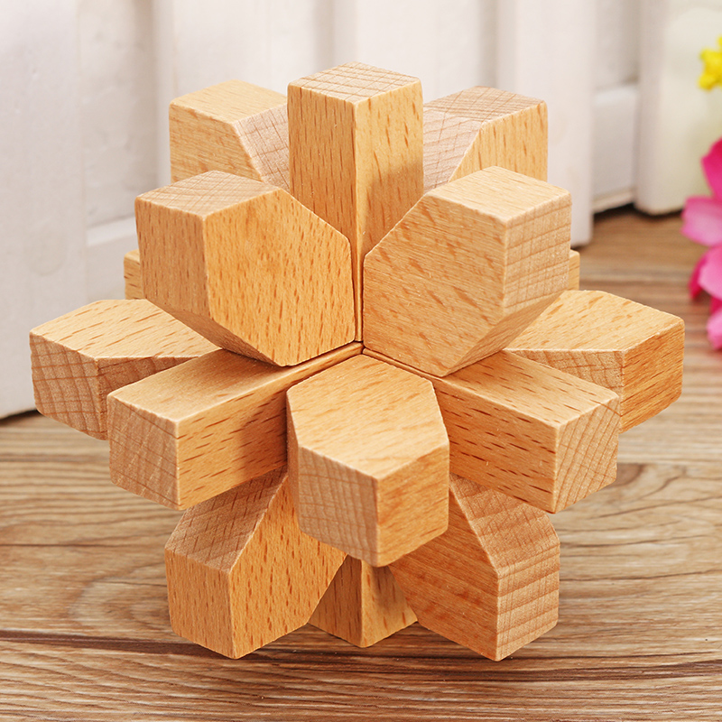 Kong Ming Lock Children Kids Toys Assembling 3D Puzzle Cube Challenge IQ Brain Wooden Toy