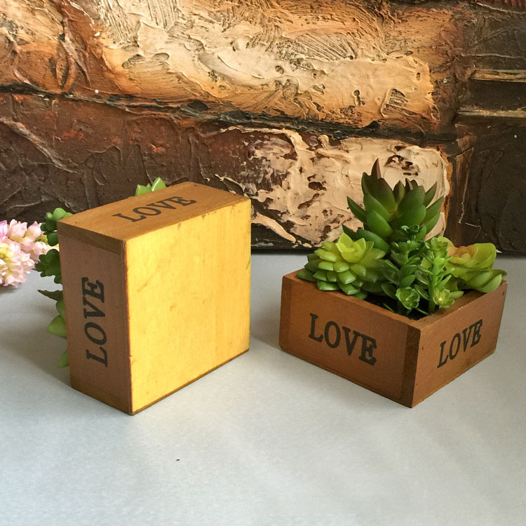 LOVE Wooden Basin Desktop Lotus Succulent Plants Flower Pot Garden Bonsai