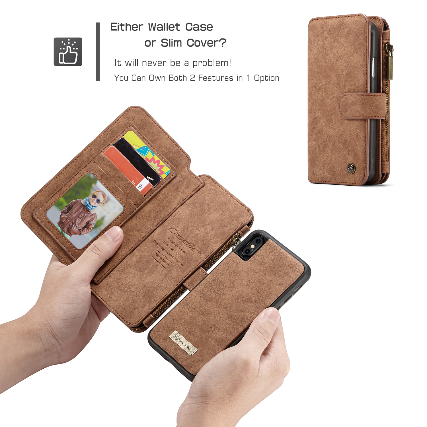 Magnetic Detachable Zipper Wallet Card Slot Pocket Protective Case For iPhone XS Max