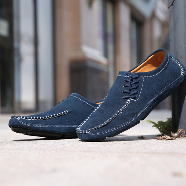 US Size 6.5-11.5 Men Flat Casual Outdoor Lace Up Suede Soft Loafers