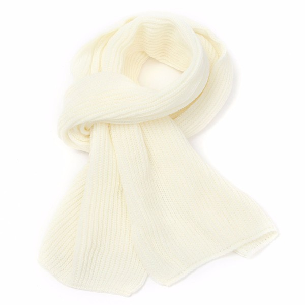 Women New Fashion Metro Knit Pure Colors Ribbed Chunky Details Scarf Smart Long Scarves