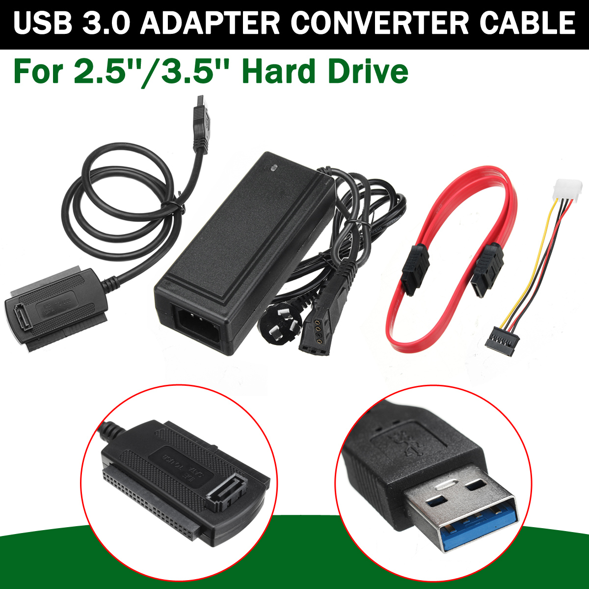 USB 3.0 to IDE/SATA Adapter Converter Cable For 2.5''/3.5'' SATA IDE Hard Drive HDD