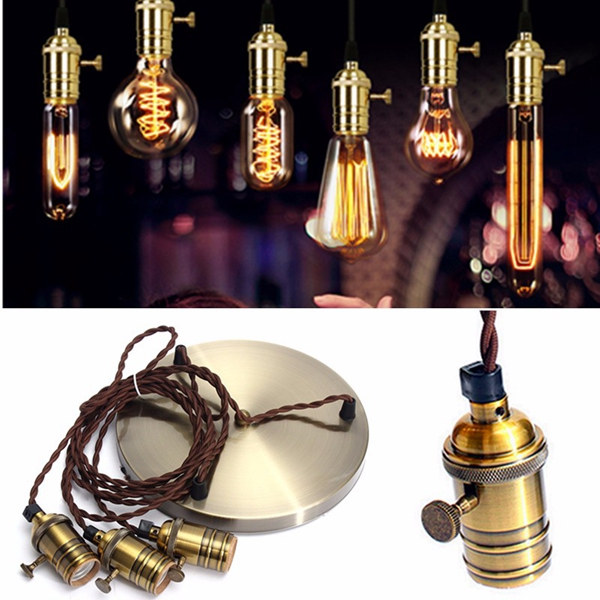 E27 Vintage Copper Pendant Ceiling Light Lamp Holder Hanging Lampshade Socket Fixture
