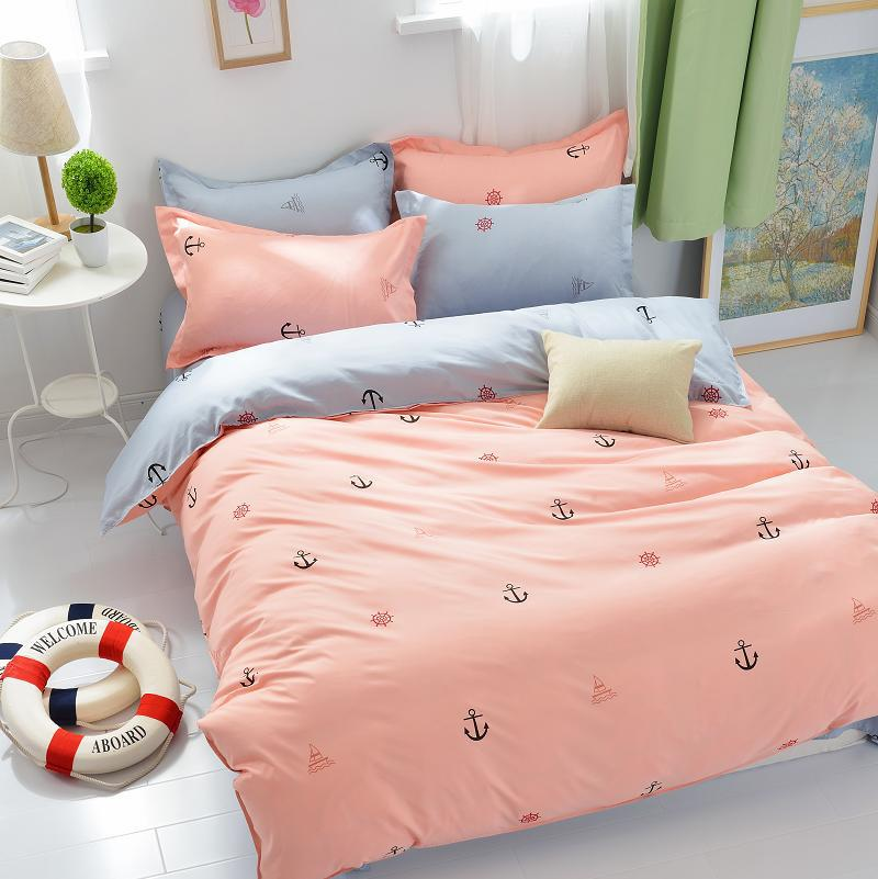 3 or 4pcs Suit Pink and Grey Sailing Diary Reactive Dyeing Polyester Fiber Bedding Sets