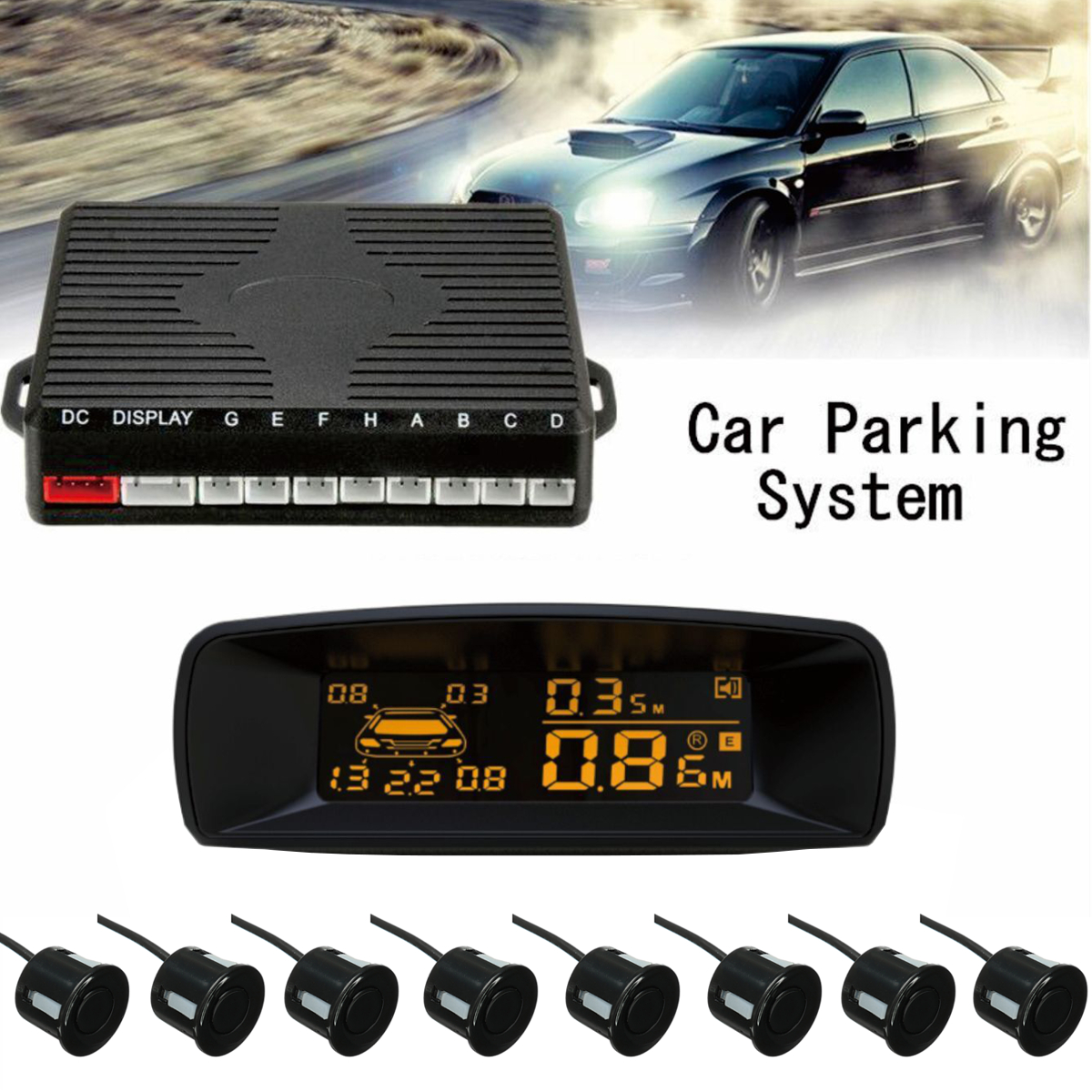 Car Parking Sensor LCD Screen Display Rear Reverse Backup Radar System Alarm