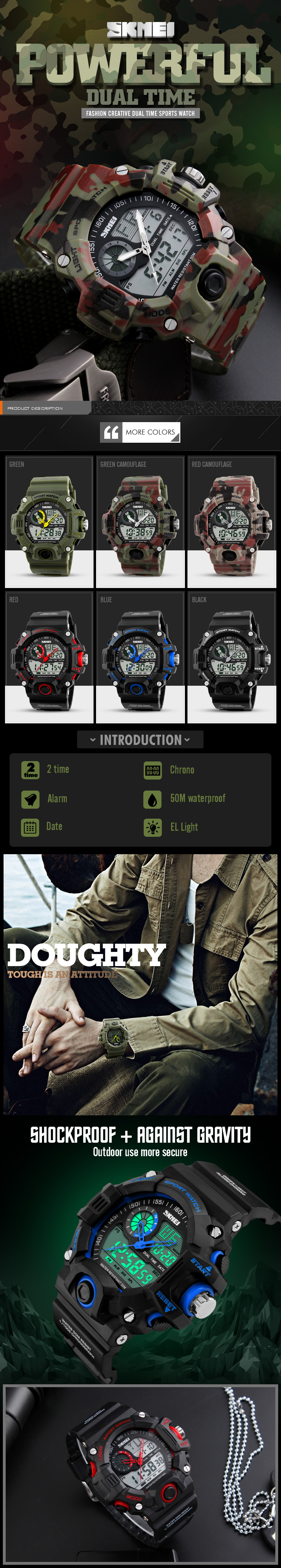 SKMEI 1029 Men Watch Military Dual Display Multi-function LED Sport Swimming Digital Watch