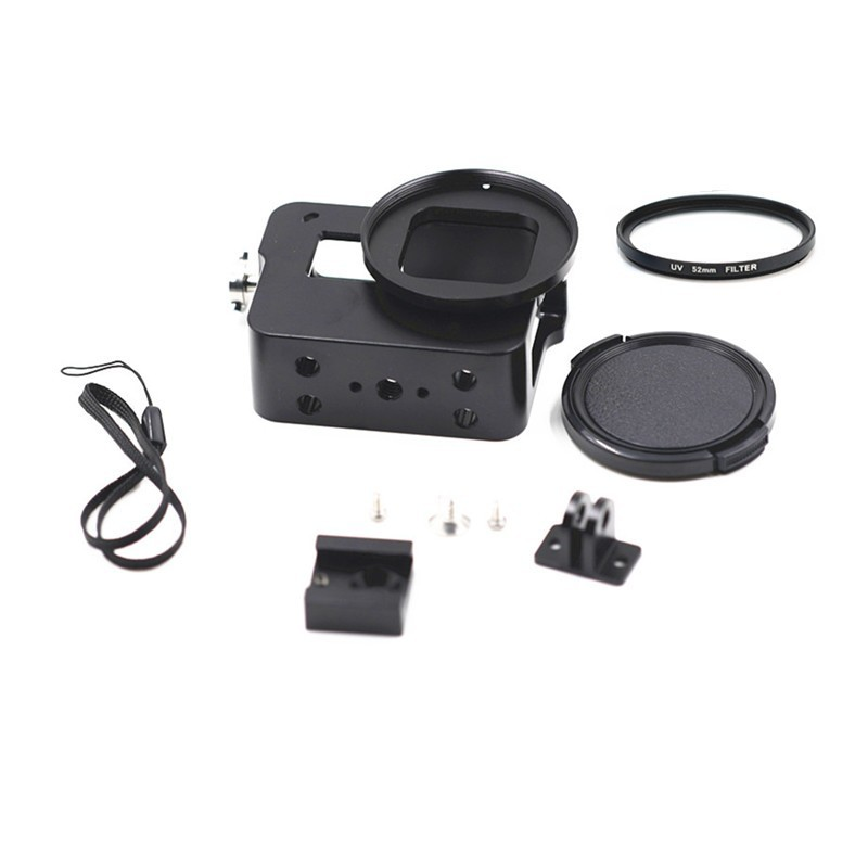 Aluminum Protective FramE Mount Housing Case with 52mm UV Lens for Gopro Hero 5 Camera Accessories