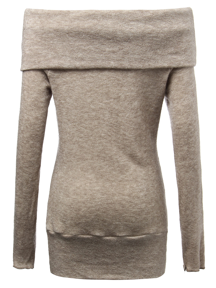 Sexy Women Casual Solid Off Shoulder Slim Pullover Sweater