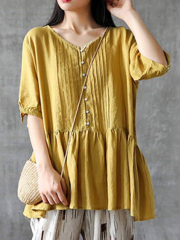 Plus Size Vintage Pleated Half Sleeve Women Blouse