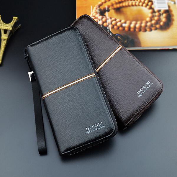 Men PU Double Fold Long Zipper Business Wallet Card Holder