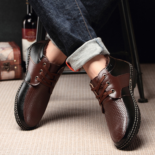 Men Soft Fur Lining High Top Oxfords