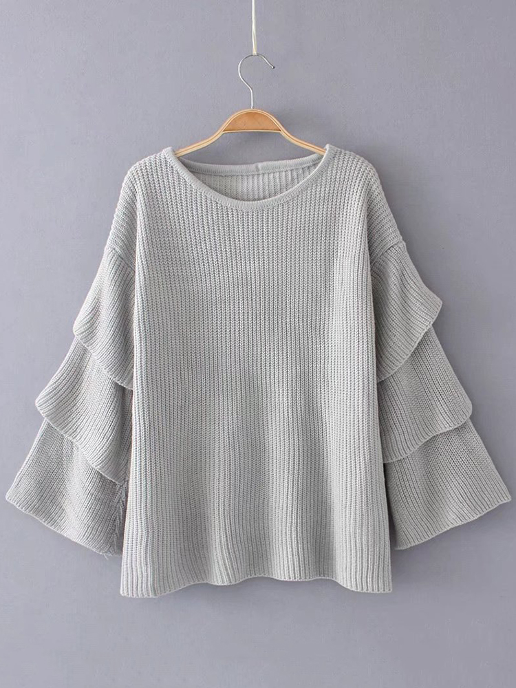 Loose Women Solid Color Sweater Laminated Sleeve Knitting Sweaters