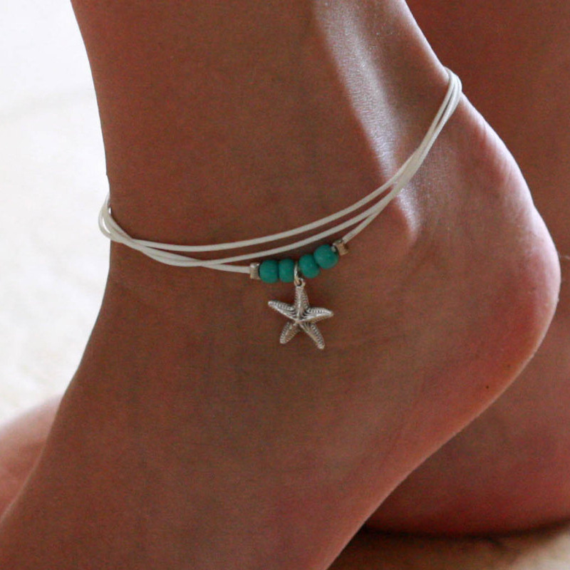 Bohemian White Wax Rope Blue Ball Beads Star Pendant Anklets
