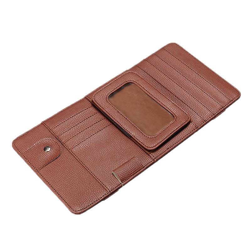 Universal Multi-function Car Sun Visor CD Clip Card Leather Bag Phone Sun Glassess Holder