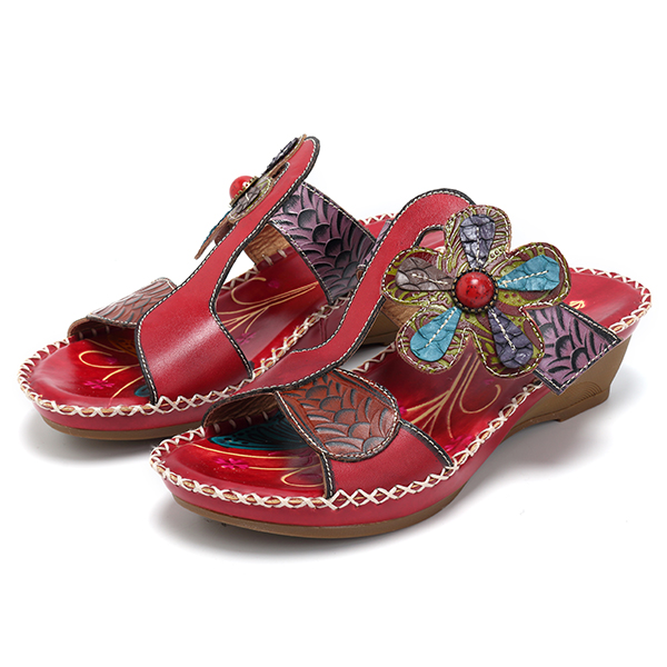SOCOFY Bohemian Leather Sandals