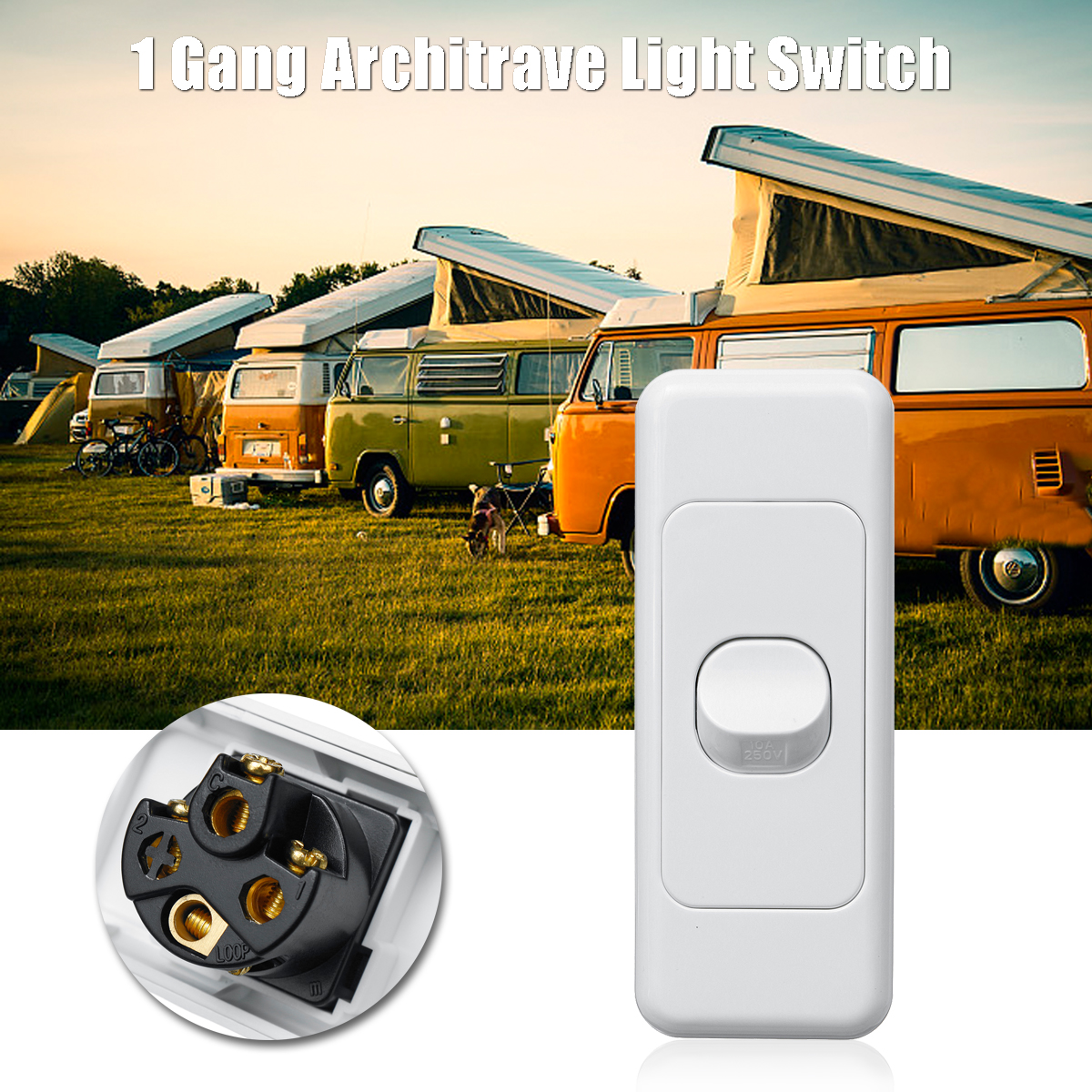 250V 10A 1 Gang Architrave Light Switch Rocker Switch Wafer Series Double Poles Switch