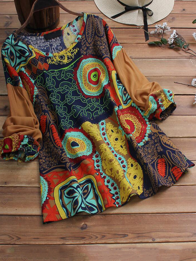 Ethnic Women Patchwork Floral Blouse