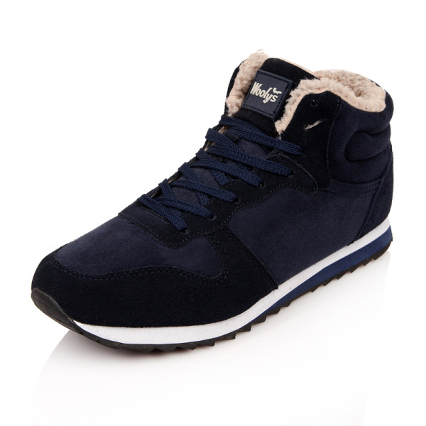 Large Size Lace Up Warm Wool Lining Round Toe Snow Casual Shoes