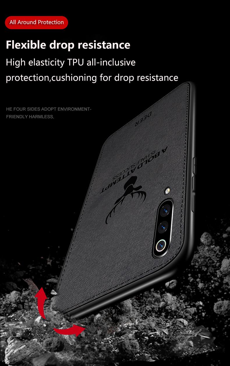BAKEEY Deer Shockproof Cloth&TPU Protective Case For Xiaomi Mi9 / Xiaomi Mi 9 Transparent Edition