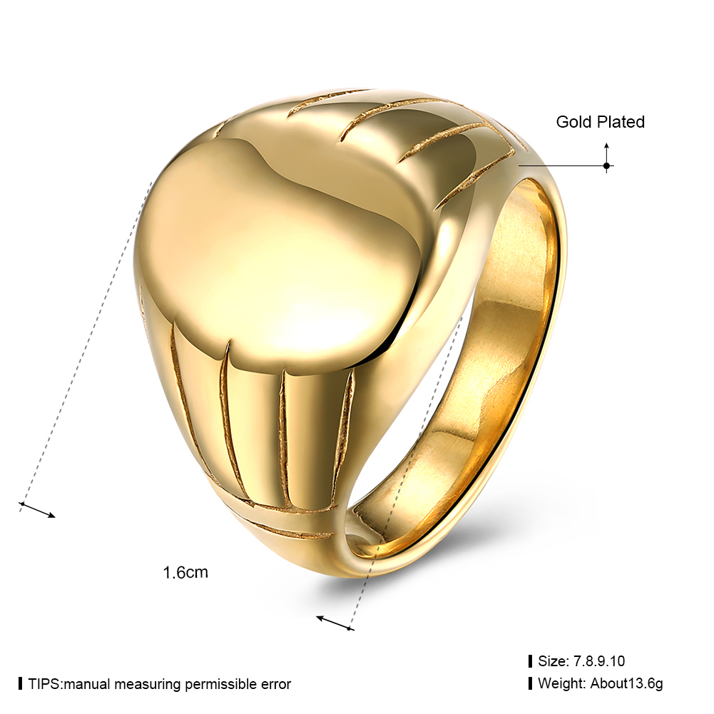 Men's 16mm 316L Stainless Steel Ring Gold Plated Finger Ring Clothing Accessories