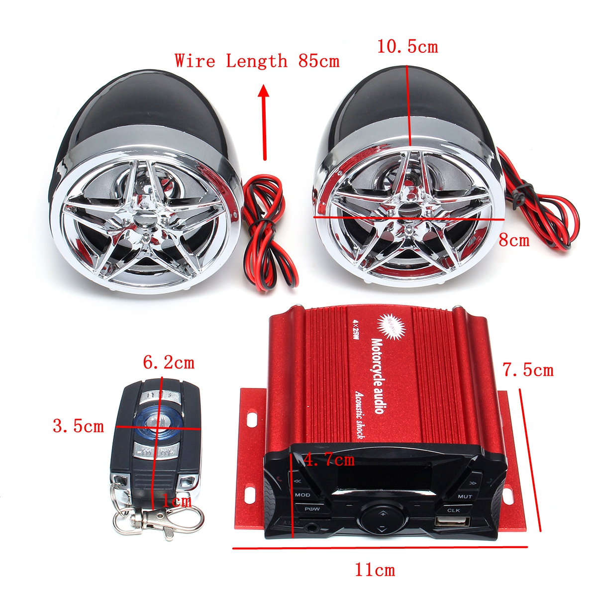 SKUniversal Motorcycle Audio Remote Sound System Support SD USB MP3 FM Radio Player Anti-Theft