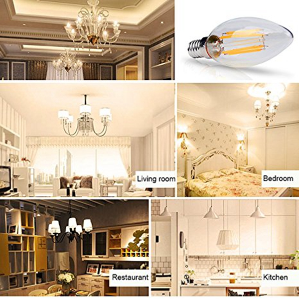 E14 E12 6W Dimmable Warm White Pure White LED Filament Candle Light Bulb AC110V AC220V