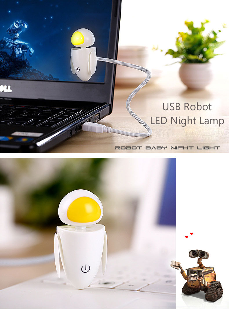 Baby Nurse Feed USB LED Night Lamp Adjustable Light Cute Robot EVA Lamp