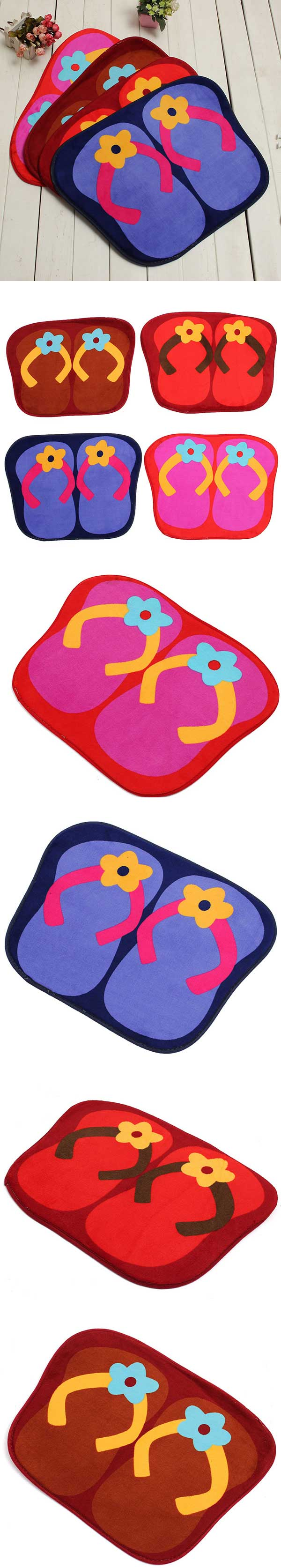41x58cm Anti Slip Flip Flops Shape Lint Ground Mat Absorbent Bathroom Floor Door Carpet