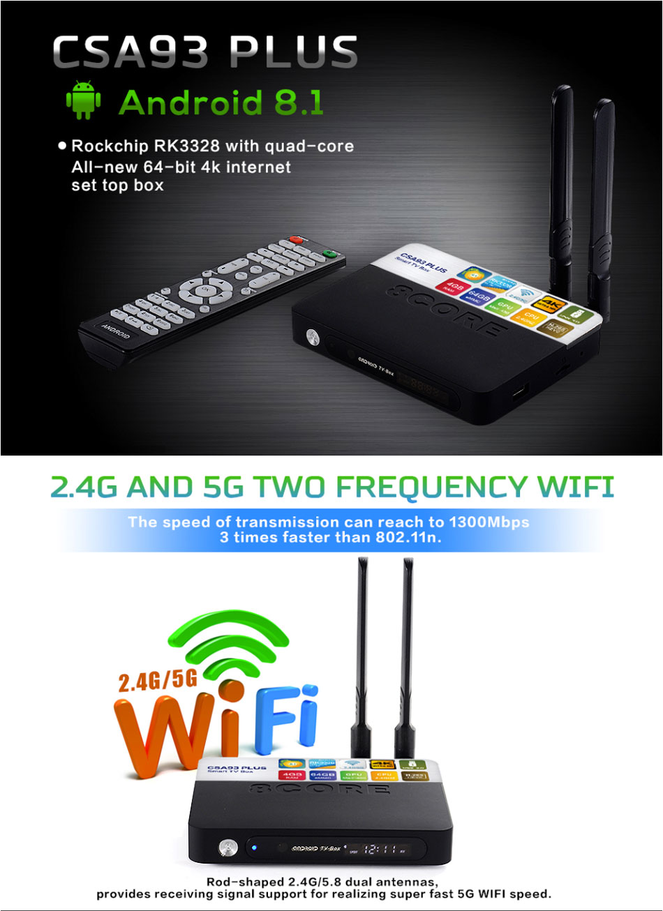CSA93 Plus RK3328 4GB 64GB 5G WIFI bluetooth 4.0 Android 4K TV Box with Time Display