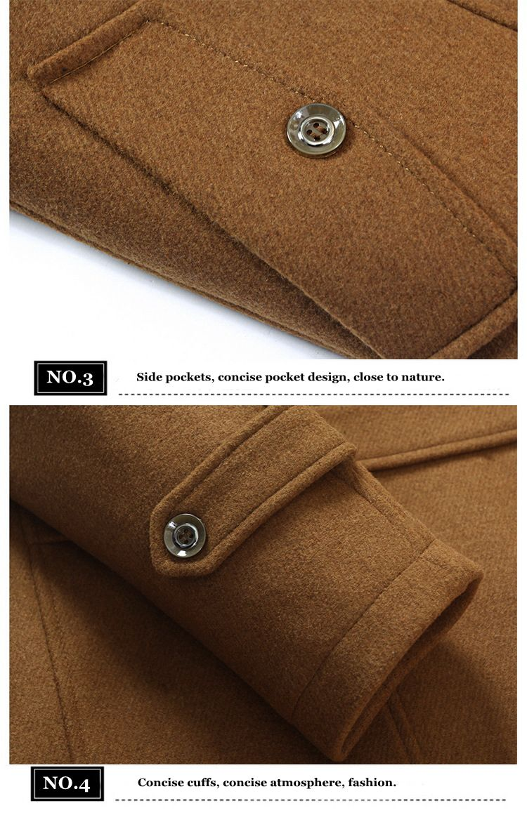 Unique Collar Warm Wool Trench Fashion Zipper Button Jacket