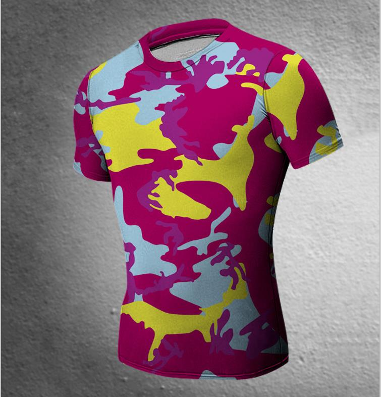 Men Base Layer Camouflage T Shirt Fitness Tights Quick Dry Clothing Male