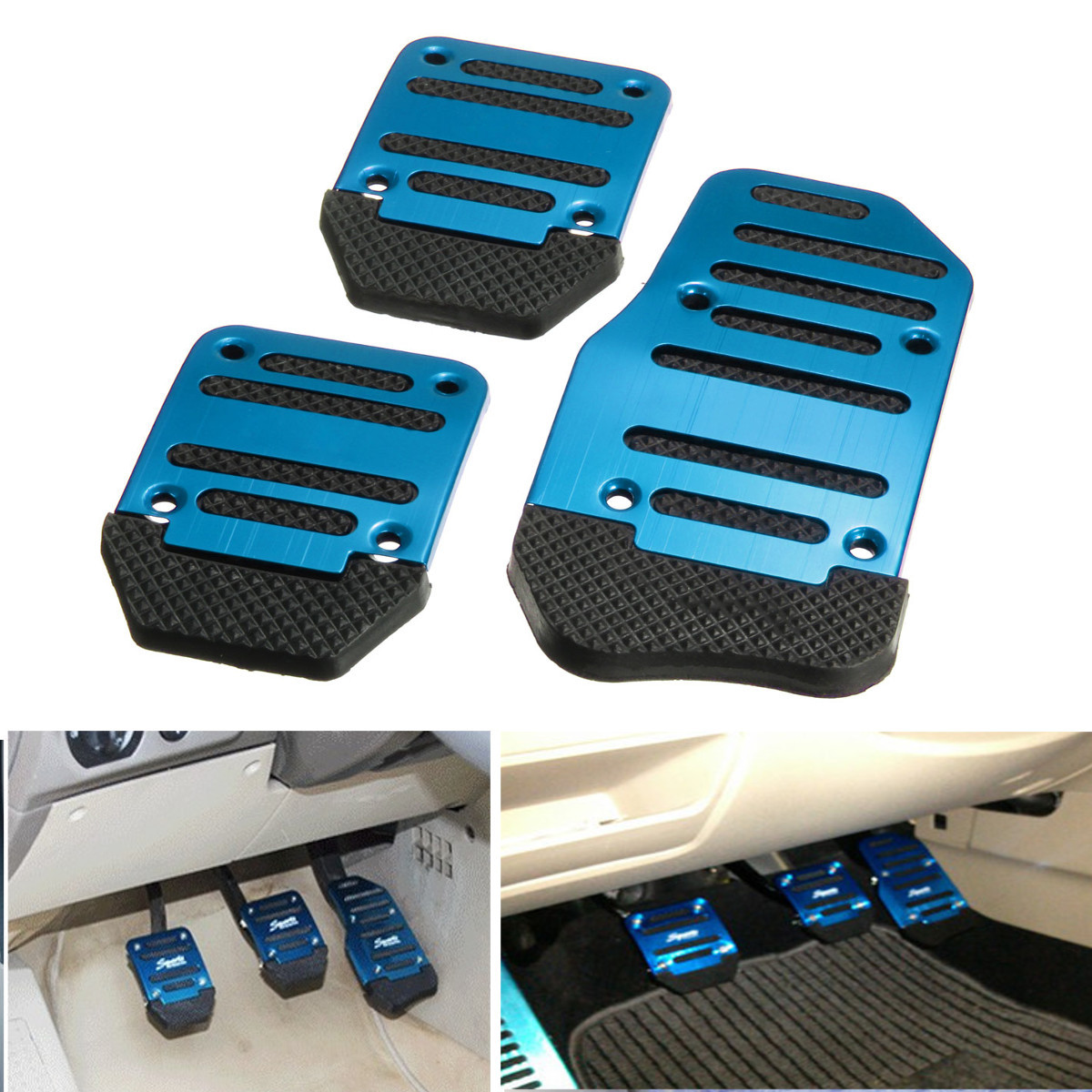 1 Set 3Pcs Non-slip Footrests Aluminum Alloy Car Foot Treadle Pedals Cover Pad