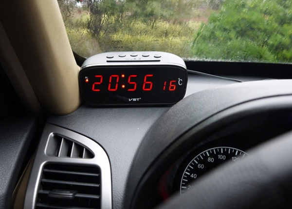 2 in 1 Digital Auto Car Thermometer Electronic Clock Alarm clock with Red LED Backlight