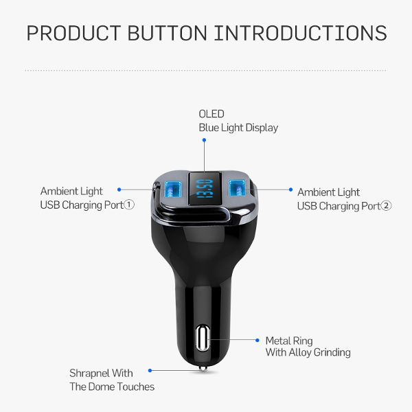 iMars™ EC08 GPS Locate Tracker Car Charger Mini 5V Dual USB Port HD OLED Display