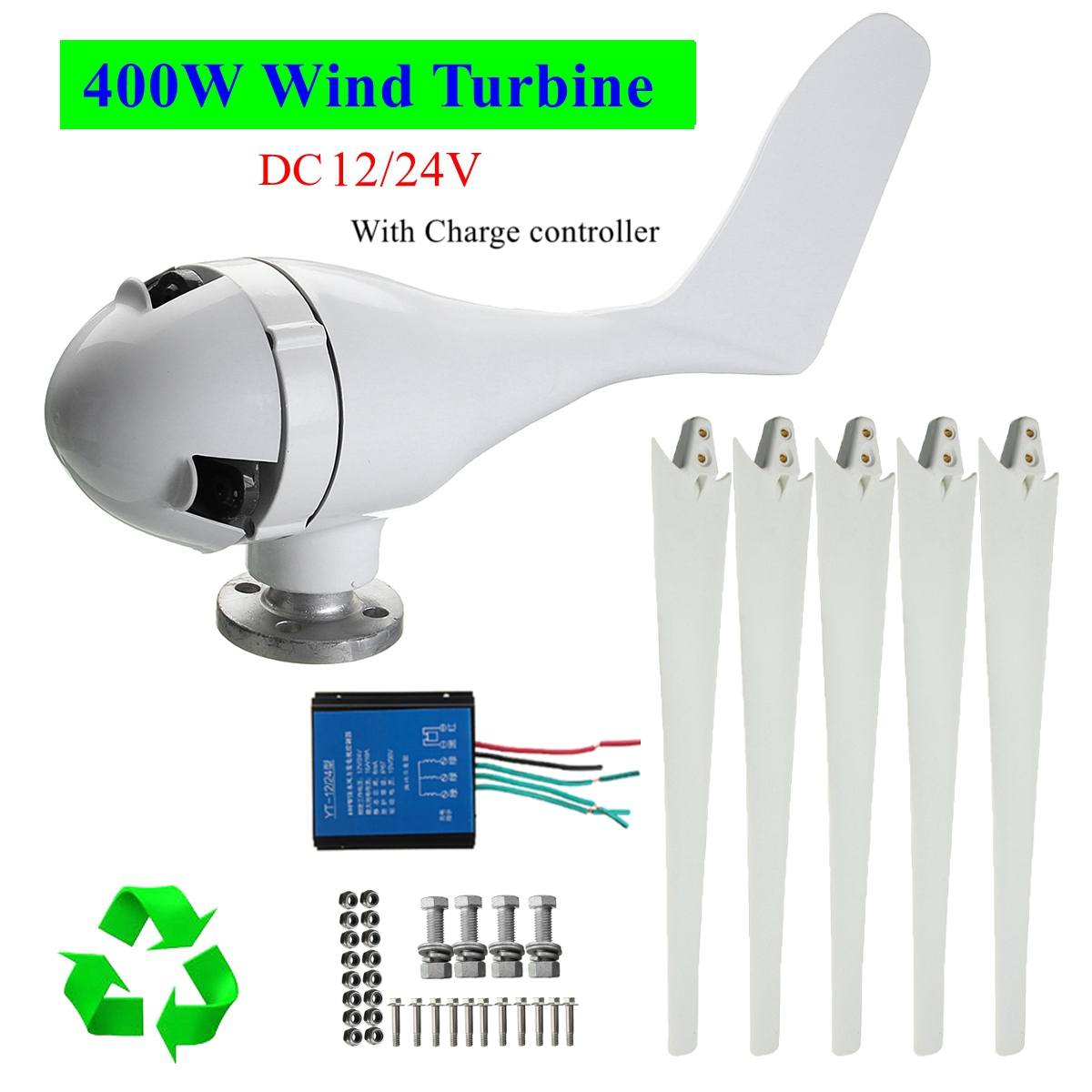5 Blade 400W Wind Turbine Generator DC 12V/24V Power Supply with Charge Controller