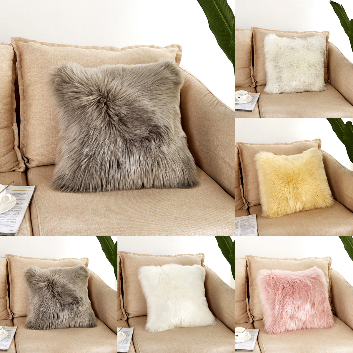 40*40cm Fluffy Plush Soft Sofa Chair Pillow Case Cushion Cover