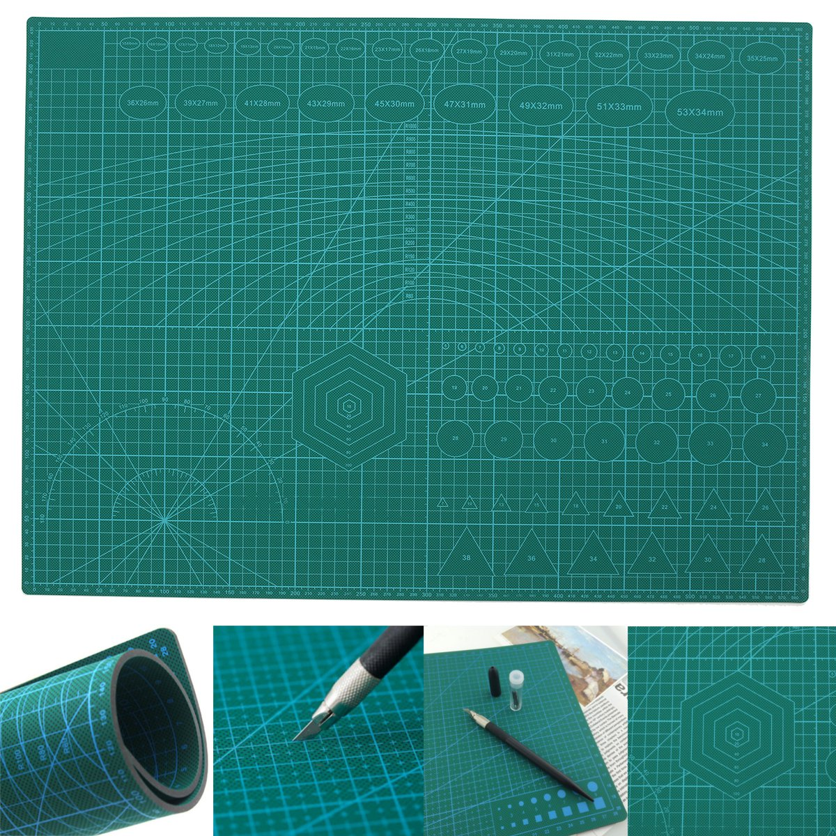 A2 PVC Double Printed Self Healing Cutting Mat Craft Quilting Scrapbooking Board