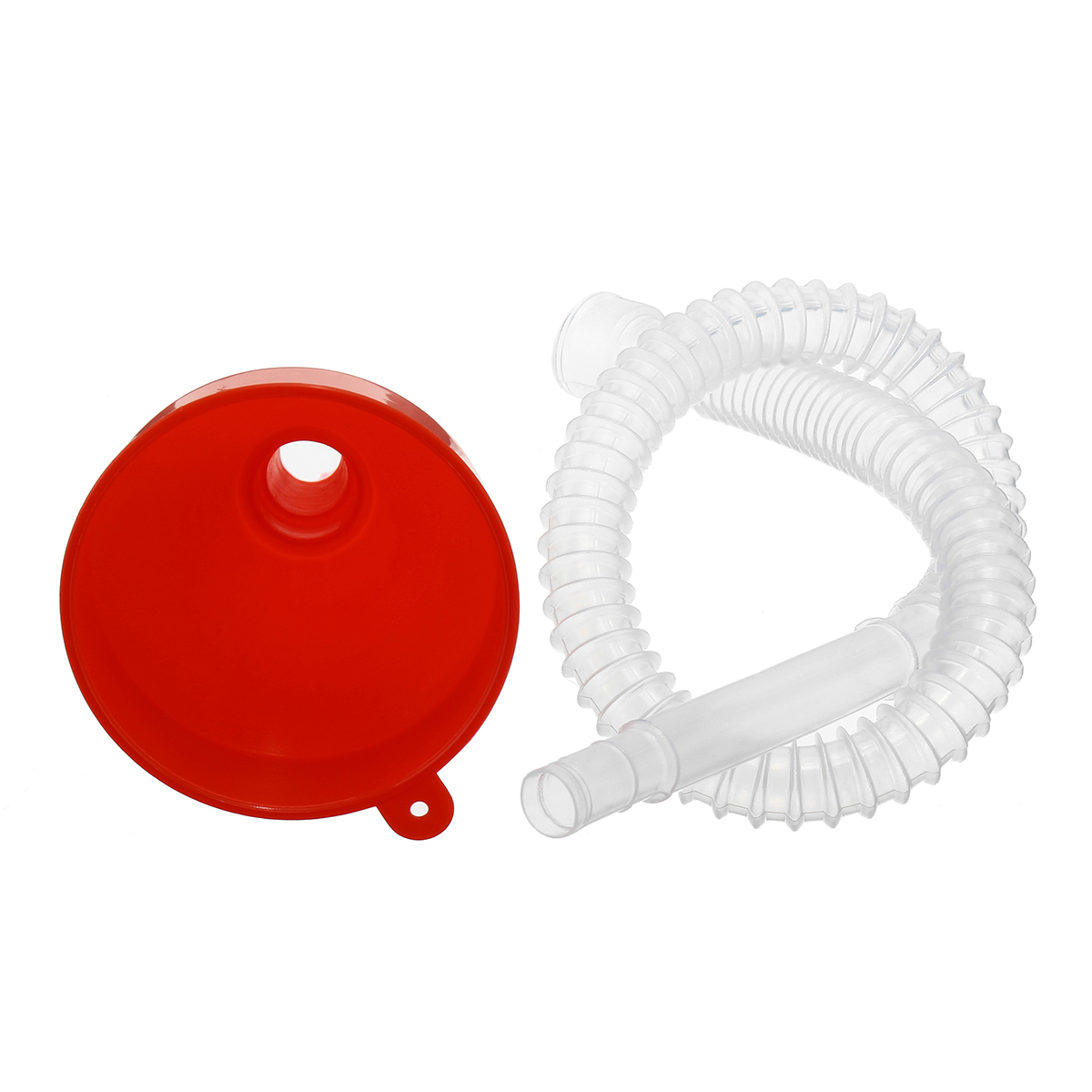 Motorcycle Funnel w/ Soft Pipe Pour Fuel Oil Petrol Vehicle Car Van Red Plastic