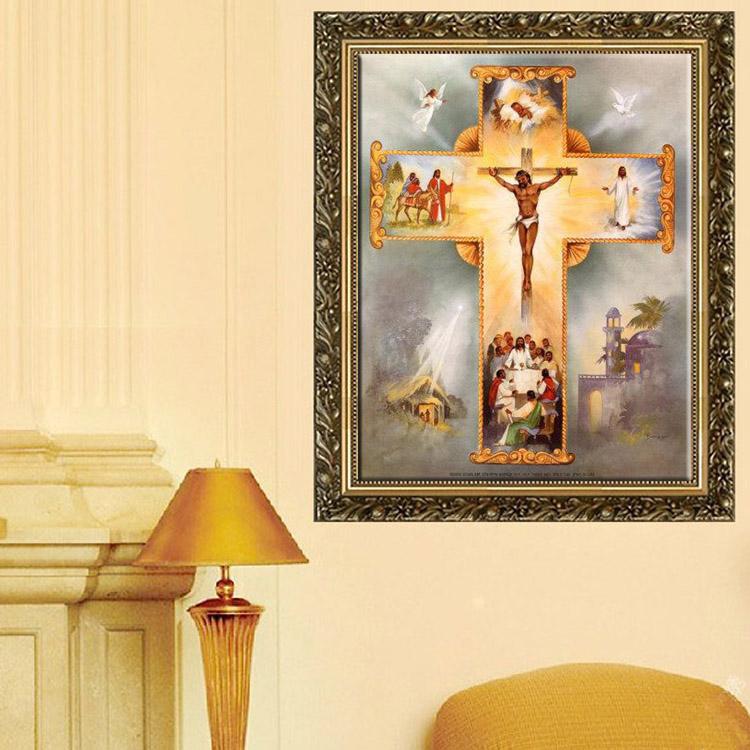 30x35cm 5D DIY Religious Culture Diamond Painting Resin Rhinestone Figure Cross Stitch Kit