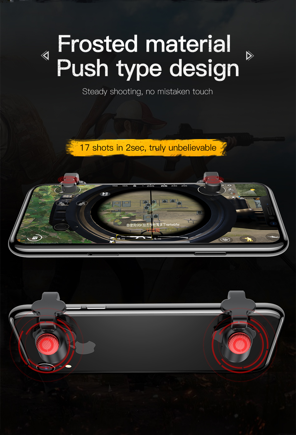 Baseus 1Pair Mobile Phone Gamepad Game Controller Trigger Joystick for iPhone XS MAX XR Oneplus 6