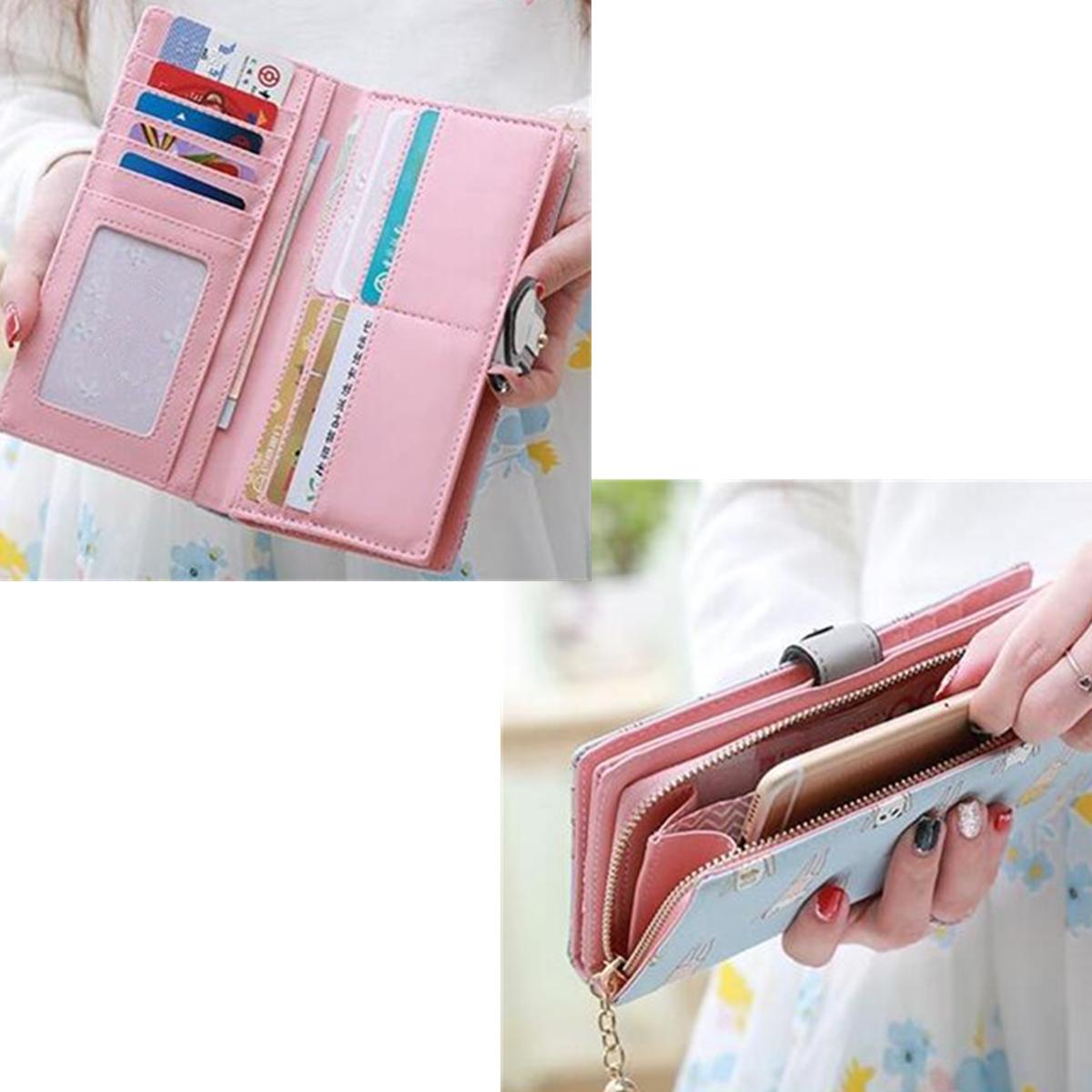 Multifunctional Women Unicorn Pattern Colorful CuteLong Wallet Phone Cover Purse Card Holder
