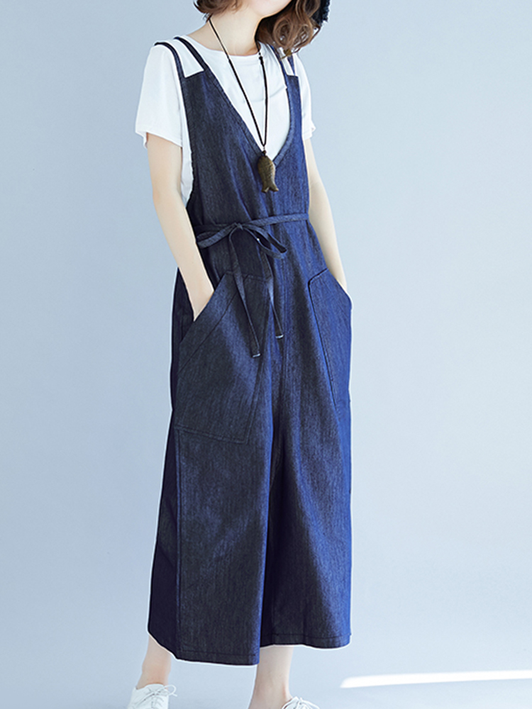 Women Plus Size Loose Denim Overall Jumpsuit with Pockets