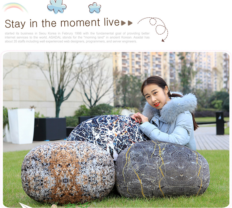 Honana WX-3332 Creative 3D Simulation Stone Pillow Backrest Cobblestone Cushion Birthday Gift Home Decor
