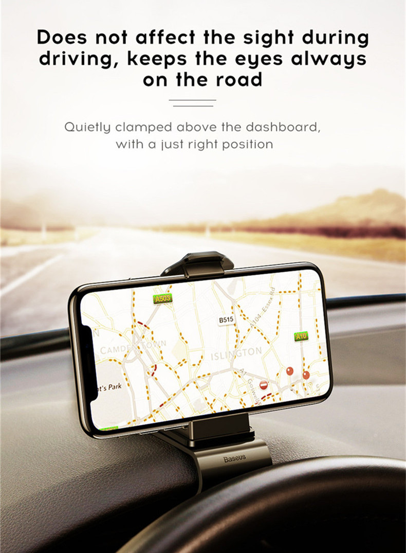 Baseus Adjustable Clip Type 360 Degree Rotation Car Dashboard Phone Holder Stand for iPhone Xiaomi