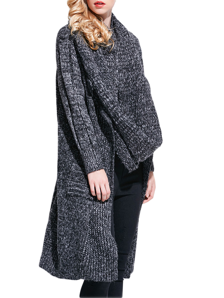 Casual Women Lapel Long Sleeve Pocket Knitted Cardigan With Scarf