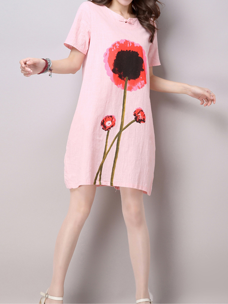 Loose Women Flower Printing Short Sleeve Cotton Linen Dress