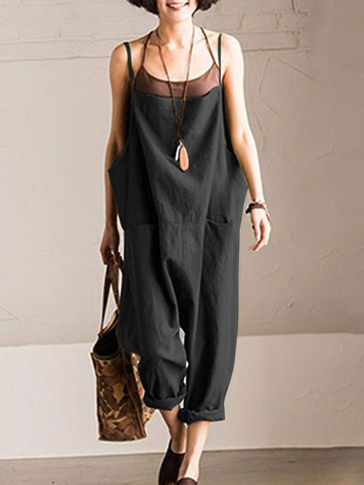 Women Solid Color Cotton Pockets Sleeveless Strap Jumpsuit