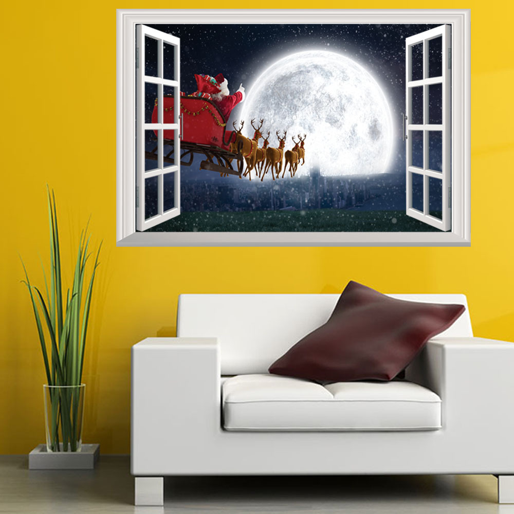 Christmas Wall Stickers Santa Claus Night View Children 's House Decorations